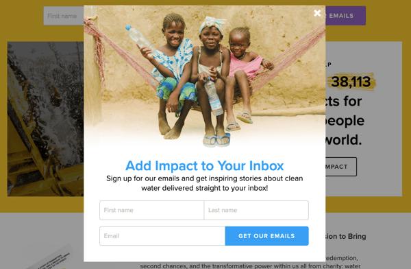campaña captacion datos charity water